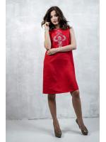 Платье «Перо павлина» красного цвета