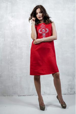 Сукня «Перо павича» червоного кольору