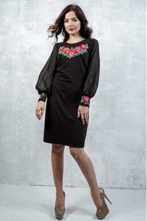 Платье «Дуновение розы» черного цвета