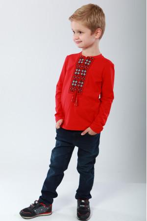 Футболка для мальчика «Цветная» красного цвета