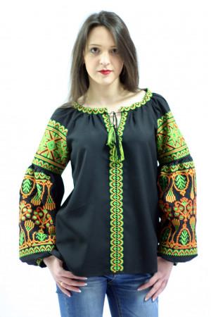 Вышиванка «Роскошь» с зеленым орнаментом