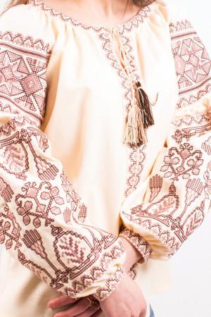 Вишиванка «Розкіш» з коричневим орнаментом