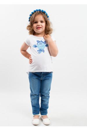 Футболка для девочки «Улыбка розы» синяя