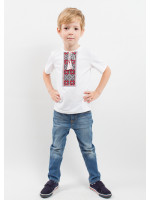Футболка для мальчика «Цветная» с вишнево-серым орнаментом