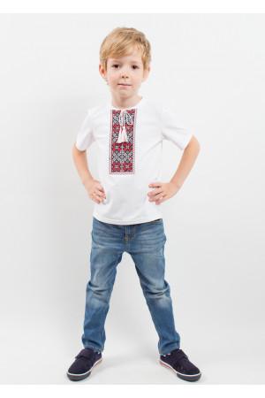 Футболка для хлопчика «Кольорова» з вишнево-сірим орнаментом