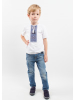 Футболка для хлопчика «Кольорова» біла з синьо-сірим орнаментом