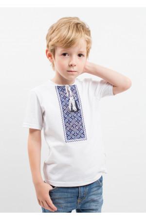 Футболка для мальчика «Цветная» белая с сине-серым орнаментом