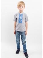 Футболка для хлопчика «Кольорова» сіра з сіро-блакитним орнаментом