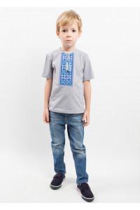 Футболка для мальчика «Цветная» серая с серо-голубым орнаментом