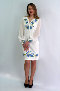 Платье «Васильковые мечты» молочного цвета