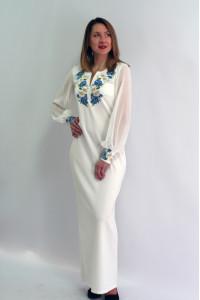 Платье «Васильковые мечты» молочно-белое длинное