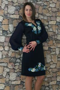 Платье «Васильковые мечты» синего цвета средней длины