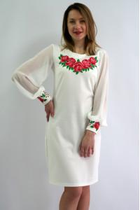Платье «Дуновение розы» молочно-белое