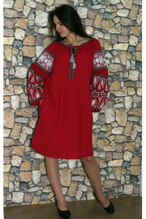 f81f909a14b2c1 Сукня «Розкіш» червоного кольору – з вишивкою, український стиль ...