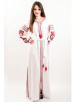 Платье «Цветочная фантазия» белого цвета, длинное