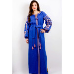 Сукня «Квіткова фантазія» синього кольору, довга