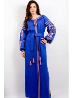Платье «Цветочная фантазия» синего цвета, длинное