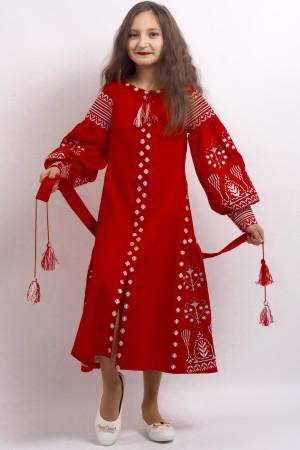 Платье для девочки «Роскошь» длинное красного цвета