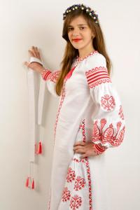 Платье для девочки «Роскошь» белого цвета, длинное