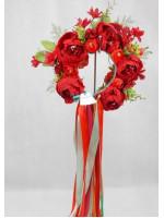 """Веночек """"Сказка"""" с красными цветами"""