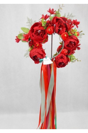 """Віночок """"Казка"""" з червоними квітами"""