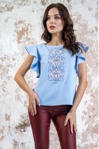 Вышиванка «Цветущая волна» голубого цвета