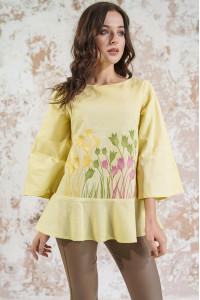 Вишиванка «Тюльпанове поле» лимонного кольору