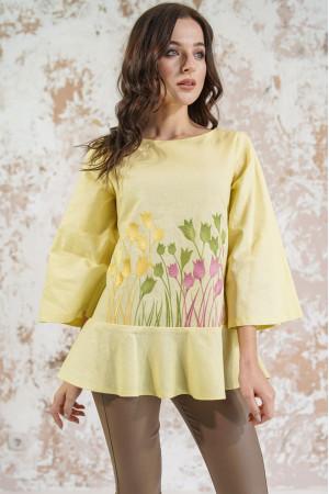 Вышиванка «Тюльпановое поле» лимонного цвета