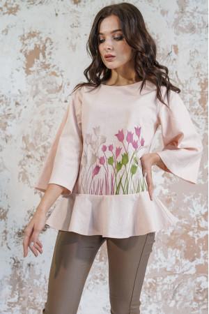 Вышиванка «Тюльпановое поле» персикового цвета