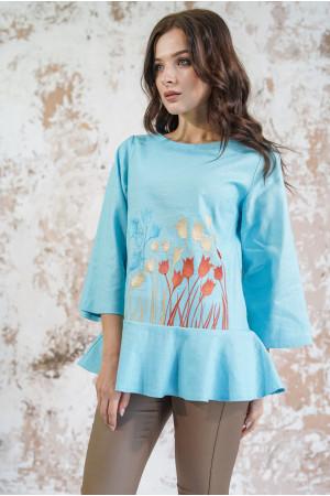 Вышиванка «Тюльпановое поле» голубого цвета