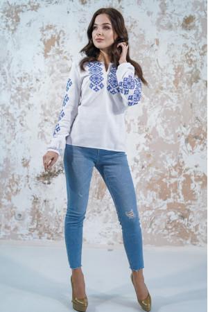 Вышиванка «Мечта» белого цвета с голубой вышивкой