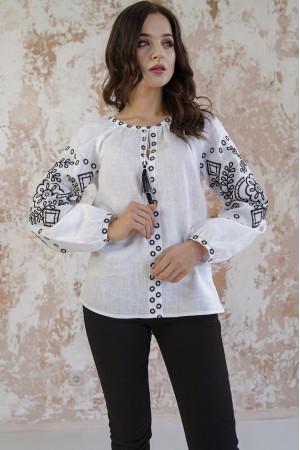 Вышиванка «Кружевные сны» белого цвета с черной вышивкой