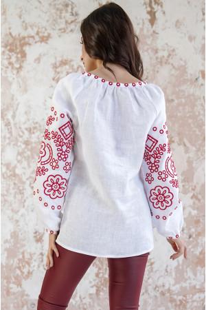 Вишиванка «Мереживні сни» білого кольору з червоною вишивкою