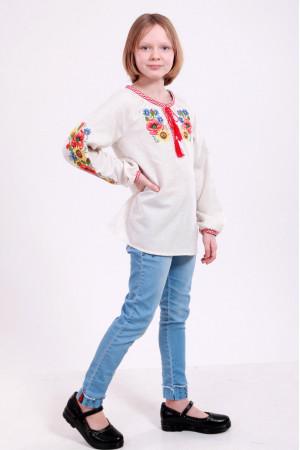 Вишиванка для дівчинки «Український букет» сірого кольору