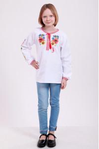 Вышиванка для девочки «Украинский букет» белого цвета