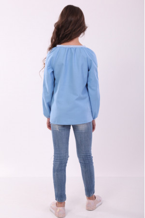 Вышиванка для девочки «Васильковые мечты»  голубого цвета