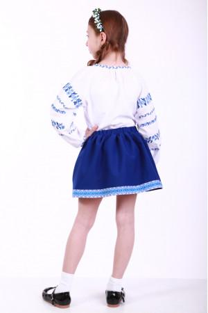 Вишиванка для дівчинки «Трояндова доріжка» з блакитною вишивкою