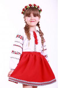 Вышиванка для девочки «Розовая дорожка» с красной вышивкой