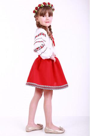 Вишиванка для дівчинки «Трояндова доріжка» з червоною вишивкою