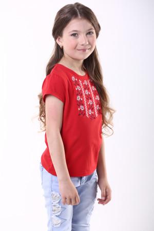Футболка для дівчинки «Трояндова доріжка» червоного кольору