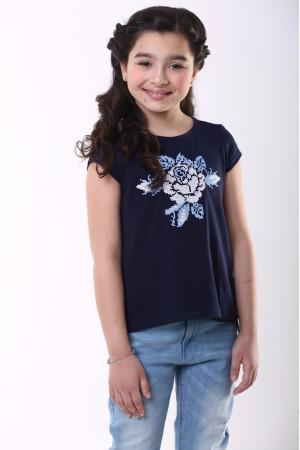Футболка для дівчинки «Посмішка троянди» темно-синього кольору