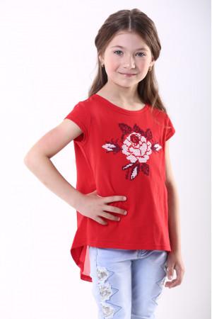 Футболка для девочки «Улыбка розы» красного цвета