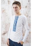 Футболка «Лабіринт-2» білого кольору з блакитною вишивкою, ДР