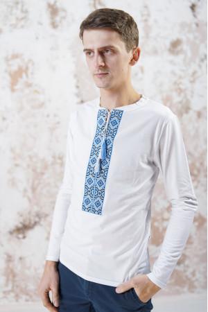 Футболка «Лабиринт-2» белого цвета с голубой вышивкой, ДР