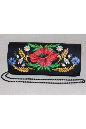 Вышитый клатч «Украинское очарование» черного цвета