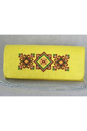 Вишитий клатч «Вишуканість» жовтого кольору