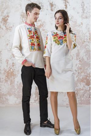 Вишитий комплект для пари «Український букет» сірого кольору