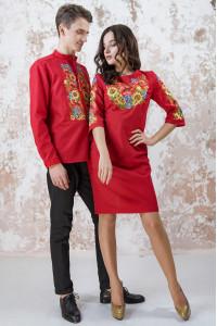 Вишитий комплект для пари «Український букет» червоного кольору