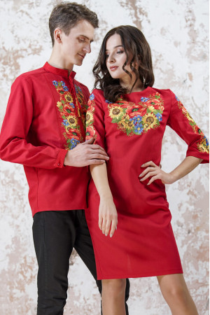 Вышитый комплект для пары «Украинский букет» красного цвета