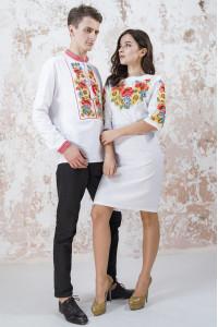 Вишитий комплект для пари «Український букет» білого кольору